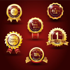 gold guarantee badge red background