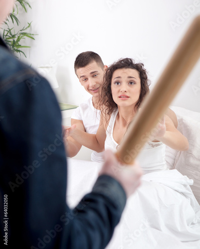 angry husband with baseball bat caught cheating wife with lover