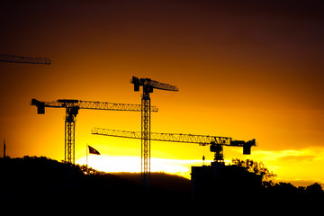 silhouette of 3 tower cranes in construction site at sunset