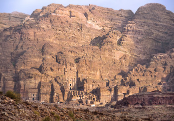 remains of nabatean city Petra in Jordan