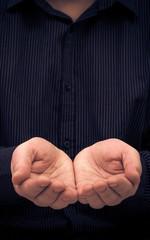 man hands gesture holding ask help
