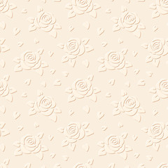 Seamless embossed background with flowers. Vector illustration.