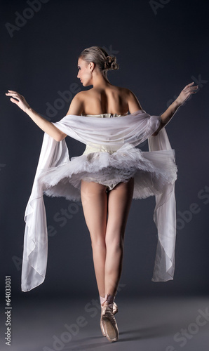 Rear view of slender girl dressed as ballerina