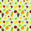 Fresh fruits flat seamless pattern