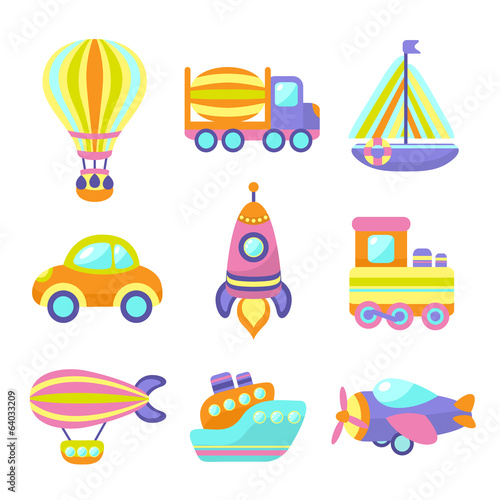 Transport Toys Icons Set
