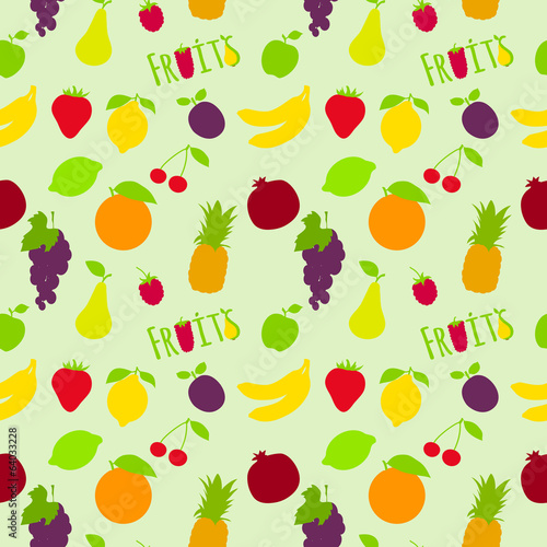 Fresh fruits flat seamless pattern