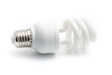 Energy saving white light bulb isolated on white background with