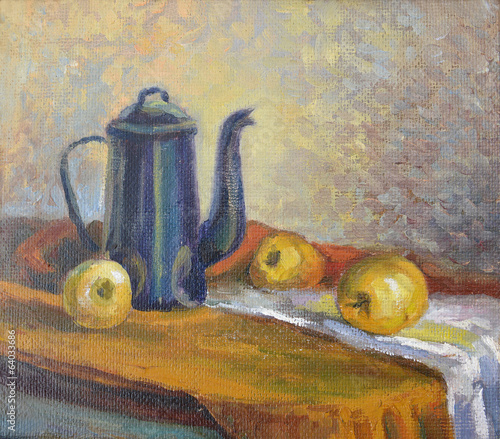 Still life with a coffee pot and fruit. Canvas, oil