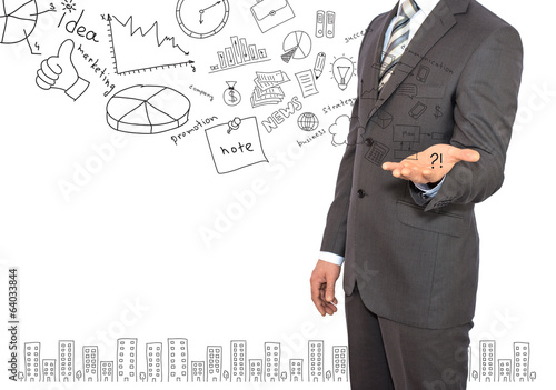 Standing businessman and business sketches