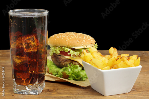 fast food  with hamburger, french fries and glass of cola
