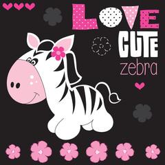 cute zebra with flower vector illustration