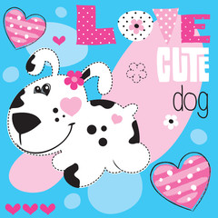 cute dog heart vector illustration