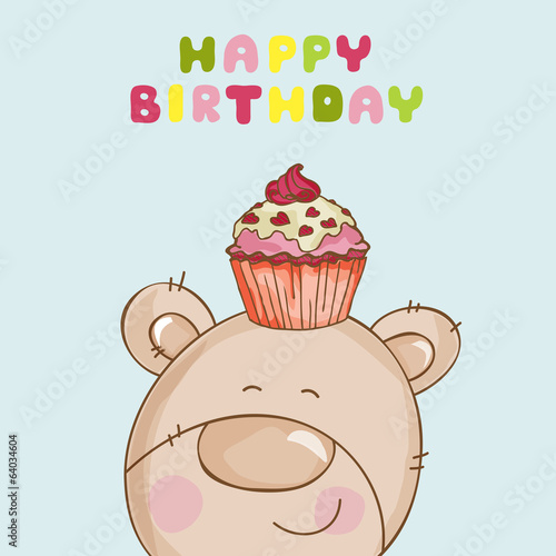 Happy Birthday Card - Baby Bear with Cupcake - in vector