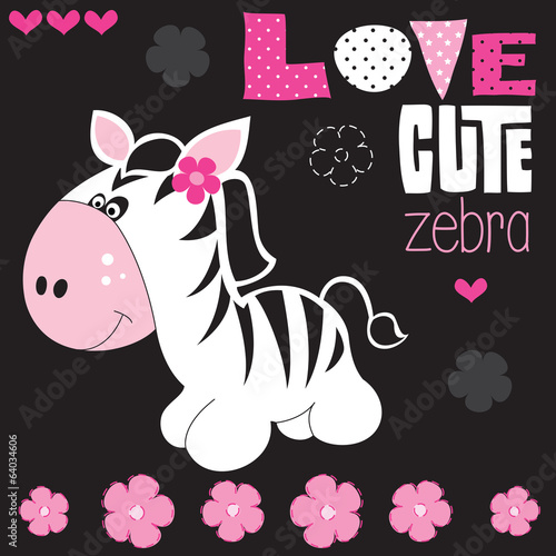 cute zebra with flower vector illustration