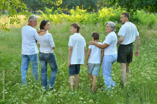 Big family in a park