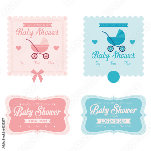 Baby Shower Template Cards Illustration Editable