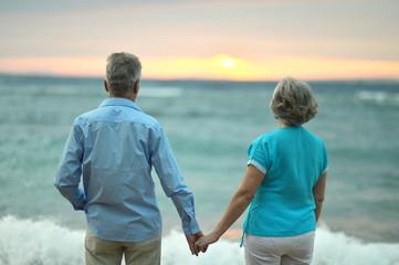 Amusing elderly couple on a beach