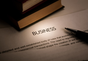 document with the title of business