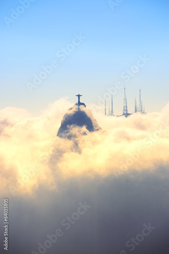 Corcovado Mountain Christ the Redeemer Rio Sunset Clouds