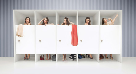 Five girls in changing rooms