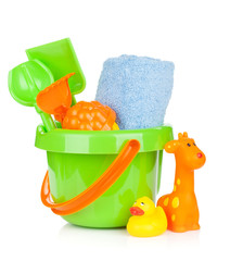 Beach baby toys and towel