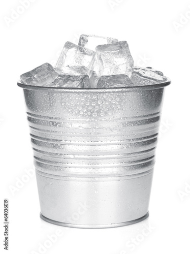 Bucket with ice cubes
