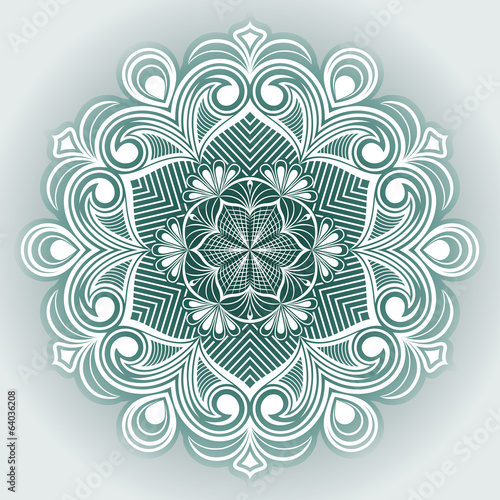 Abstract flower round vector ornament.