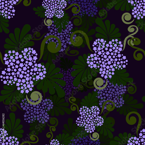 Seamless dark green and purple floral wallpaper