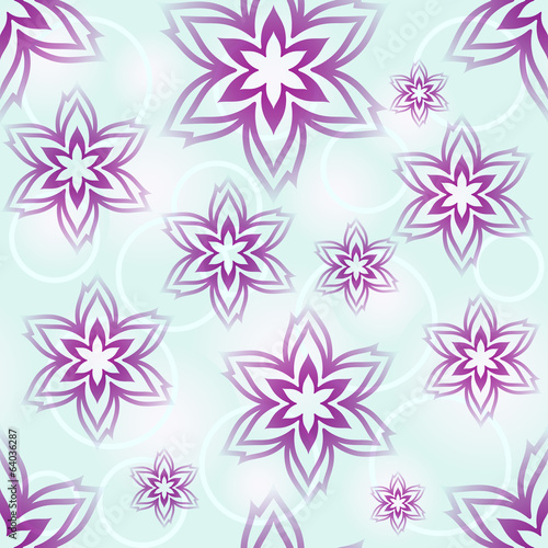 Seamless blue and purple flower buds wallpaper