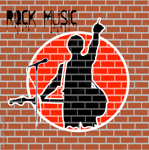 drawing rock musician on a brick wall