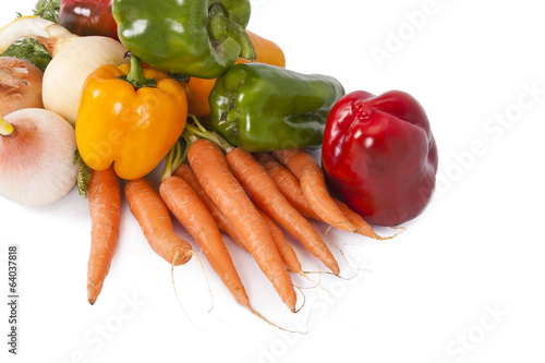 grouped and vegetables isolated on white background