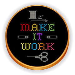 Embroidery, Make it Work Fashion Rainbow Cross Stitch, wood hoop