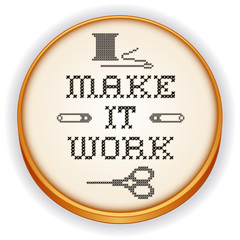 Embroidery, Make it Work Fashion Cross Stitch, Wood Hoop