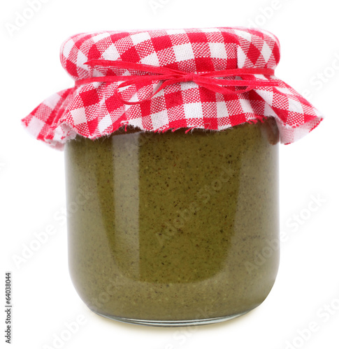 Organic pumpkin seed butter in glass jar