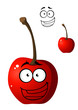 Ripe red happy little cartoon cherry
