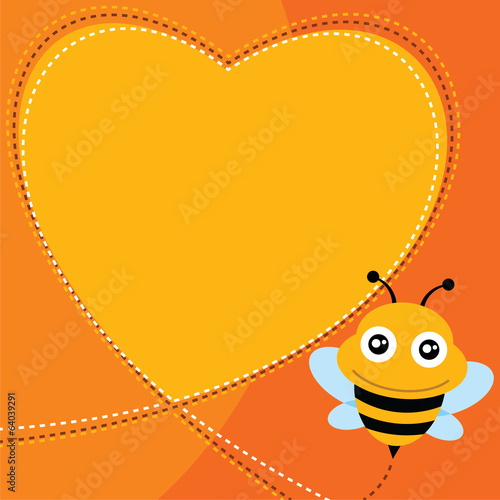 Flying bee and heart shape. Vector illustration.