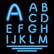 Blue Neon Tube Letters. Glowing Font. Vector