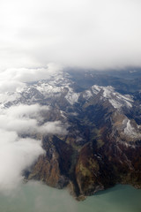 Aerial view on the Swiss alps