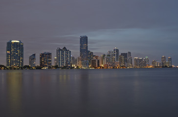 Miami city skyline panorama at sunset