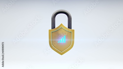 Internet Safety Shield and Network Security Lock Animation