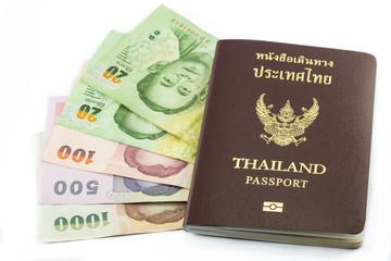 Thailand passport with Thai money