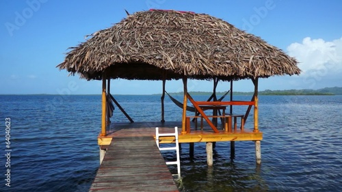 Palapa over the Caribbean sea