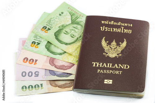 Thailand passport with Thai money