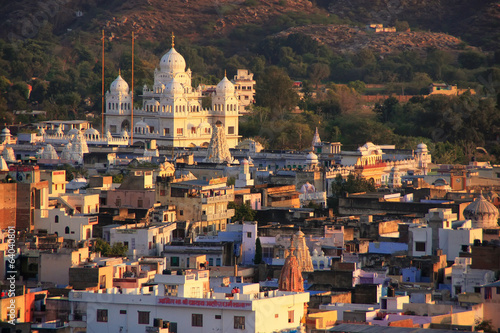 View of Pushkar with Gurudwara temple in the evening, India