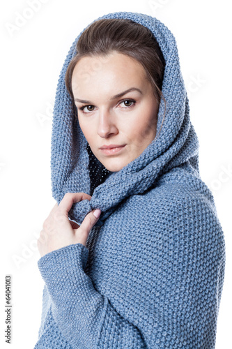 Woman wearing hooded sweater