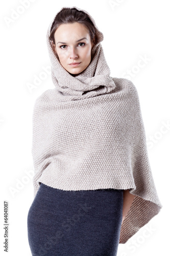 Woman wearing hooded kimono sweater