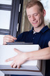 Courier fill out documents about delivery