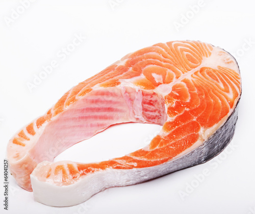Salmon. Fresh raw salmon red fish steak.