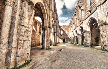 The ancient Abbey of San Galgano, Italy, is a mirable example of