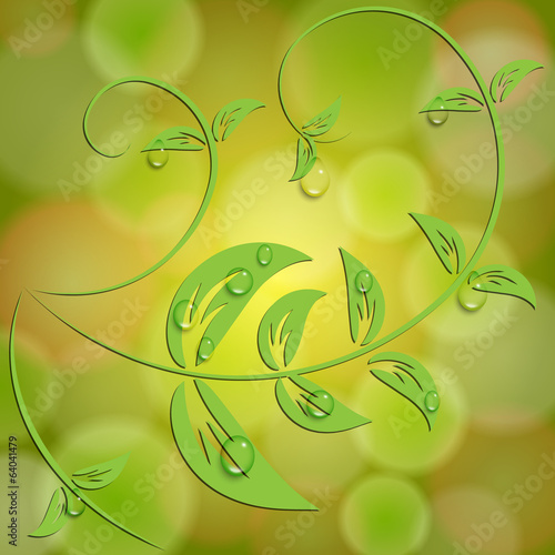 Vector abstract yellow background with bokeh light effects and